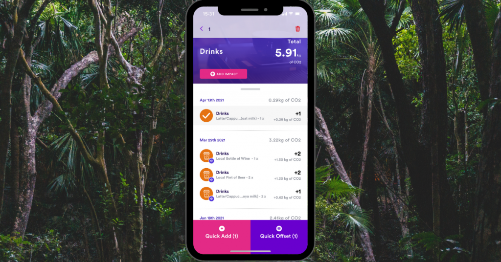 Quick Offset the CO2 emissions of any drink tracked in the Earth Rewards app.
